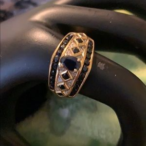 14k Blue Sapphire Yellow Gold with diamond accents